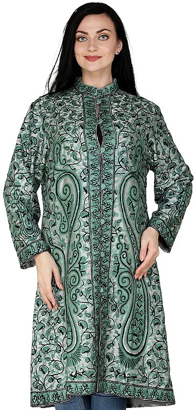 Neutral-Gray Long Kashmiri Jacket with Ari Hand-Embroidered Paisleys and Florals