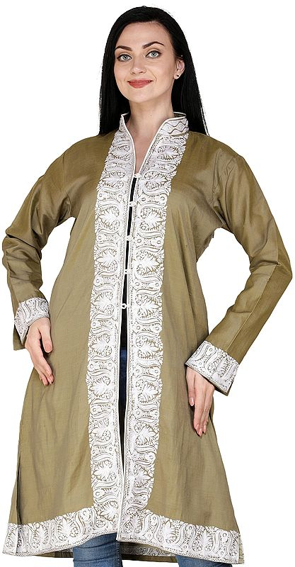 Dried-Herb Long Kashmiri Jacket with Ari Embroidered Florals on Neck and Border