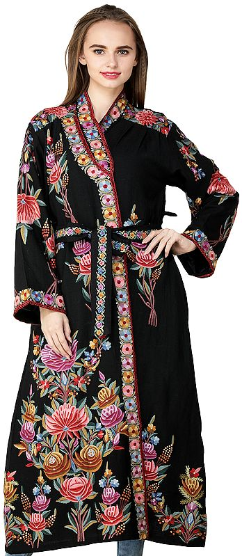 Licorine-Black Kashmiri Robe with Ari Embroidered Florals and Motifs by Hand