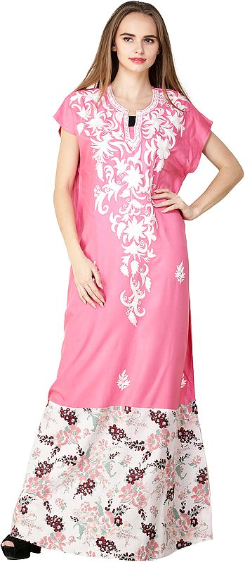 Gown from Kashmir with Ari Embroidered White Flowers  on Neck and Printed Patch Border