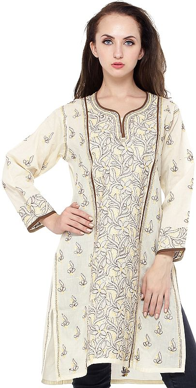 Transparent-Yellow Kurti with Lukhnavi Chikan Embroidery All-Over