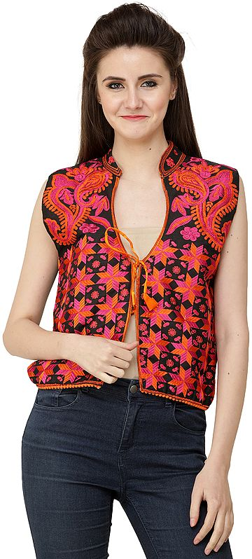 Caviar-Black Phulkari Embroidered Short Waistcoat from Punjab with Floral Embroidery