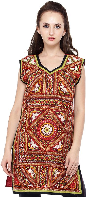 Garnet-Rose Kurti from Kutch with Rabari Hand-Embroidery and Mirrors