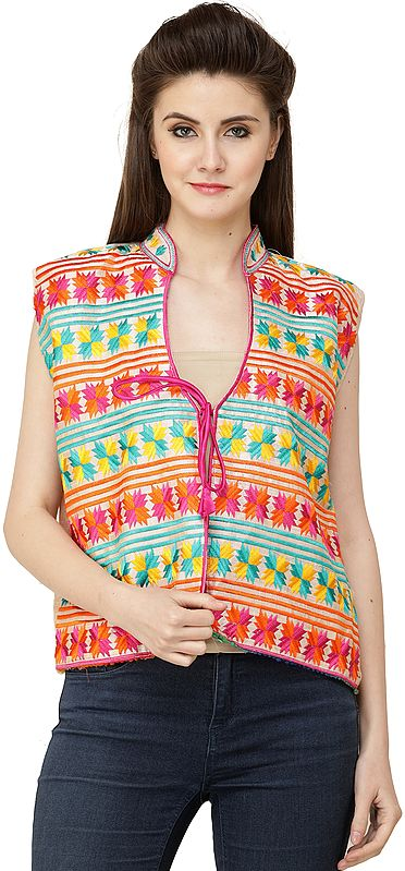 Afterglow Phulkari Short Waistcoat from Punjab with Multicolor Floral Embroidery