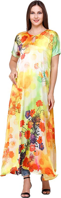 Butter-Cup Digital-Printed Long Gown from Kashmir with Multicolor Flowers
