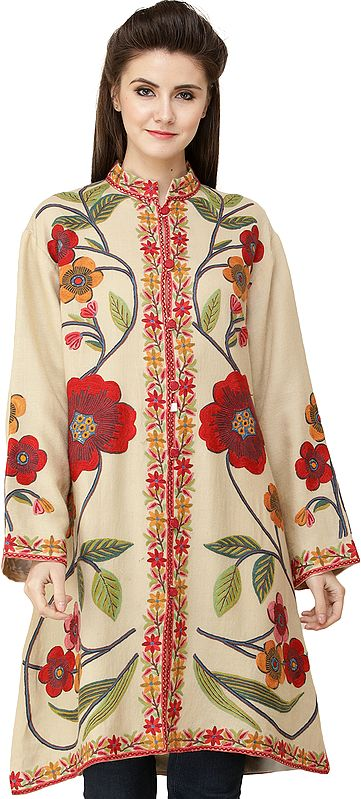 Pearled-Ivory Long Jacket from Kashmir with Hand-Embroidered Giant Flowers