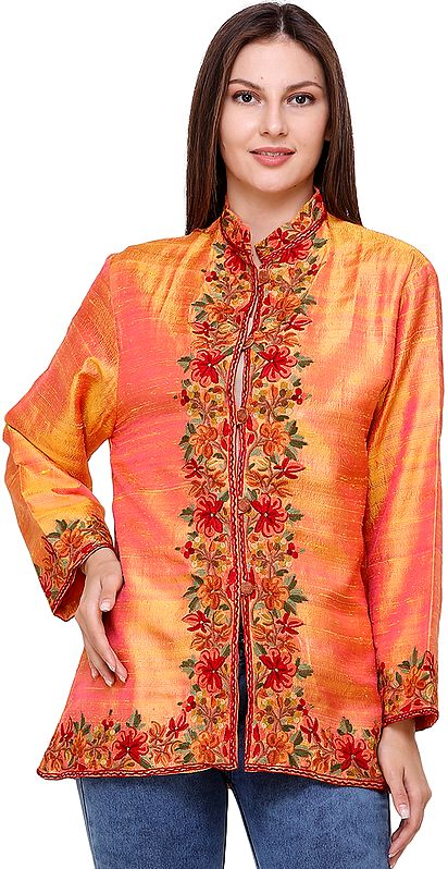 Arabesque Short Jacket from Kashmir with Hand-Embroidered Flowers