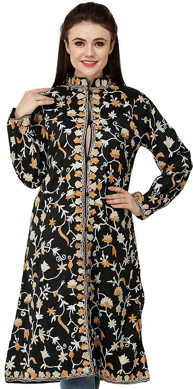 Caviar-Black Long Jacket from Amritsar with Ari Embroidered Flowers All-Over
