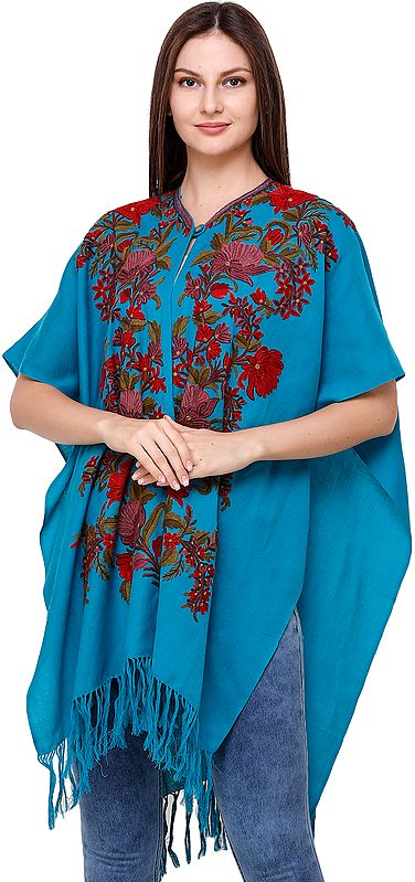 Algiers Blue Cape from Kashmir with Ari Hand-Embroidered Flowers