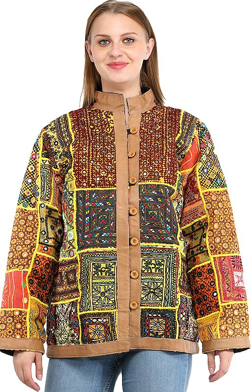 Aurora Leather Jacket from Kutch with Hand-Embroidered Multicolor Patchwork and Mirrors