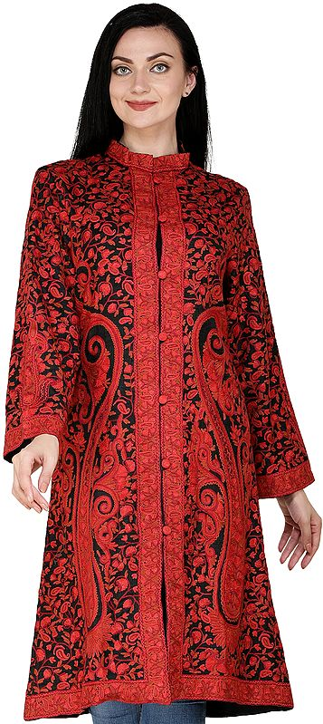 Black and Red Kashmiri Long Jacket with All-Over Hand-Embroidered Paisleys