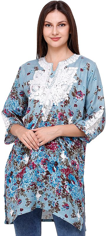 Cameo-Blue Floral Printed Kurti from Kashmir with Ari-Embroidery on Neck
