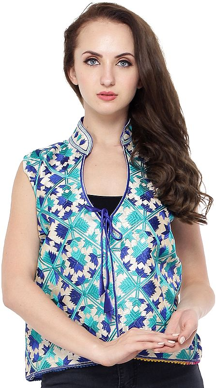 Amparo Blue Phulkari Short Waistcoat from Punjab with  Floral Embroidery