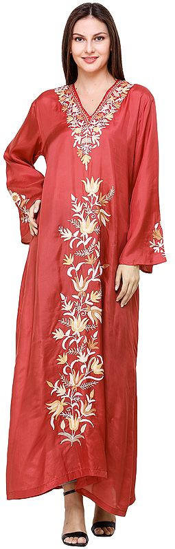 Hibiscus-Red Long Gown from Kashmir with Ari-Embroidered Lotus Flowers