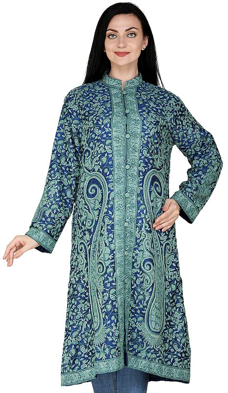 Victoria-Blue Kashmiri Long Jacket with All-Over Hand-Embroidered Paisleys