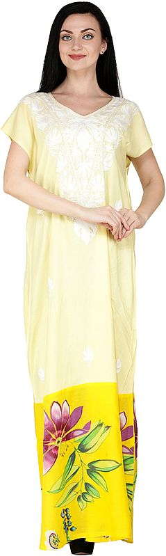 Pale-Banana Long Gown from Kashmir with Ari Embroidery and Printed Flowers