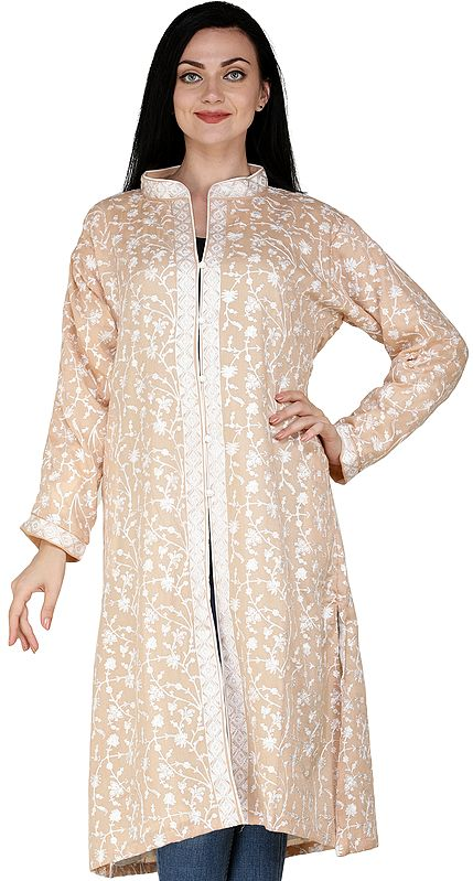Rugby-Tan Kashmiri Long Jacket with All-Over Hand-Embroidered Fllowers