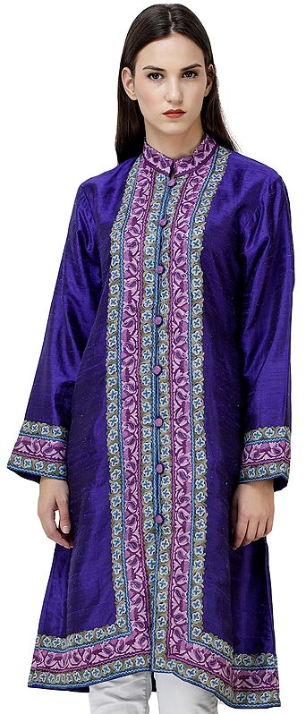 Clematis-Blue Kashmiri Long Jacket with Hand-Embroidered Flowers
