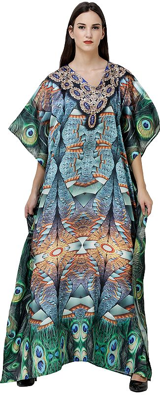 Milky-Blue Long Kaftan with Digital-Printed Peacock Feathers and Embellished Crystals