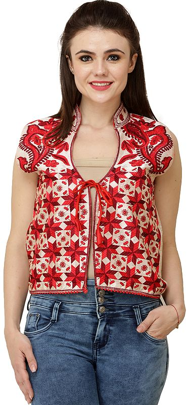 Bleached-Sand Phulkari Short Waistcoat from Punjab with Floral Embroidery