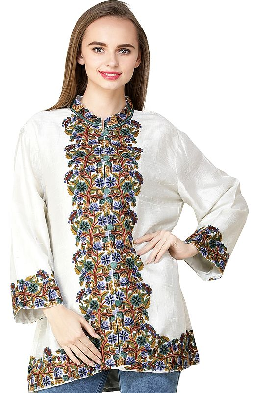 Snow-White Short Kashmiri Jacket from Kashmir with Hand-Embroidered Multicolor Flowers