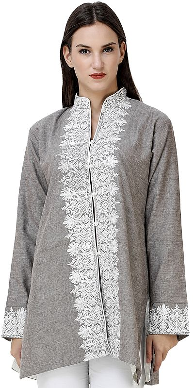 Paloma-Gray Short Kashmiri Jacket with Floral Embroidery