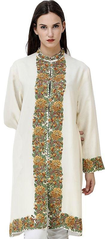 Banana-Cream Long Kashmiri Jacket with Hand-Embroidered Flowers