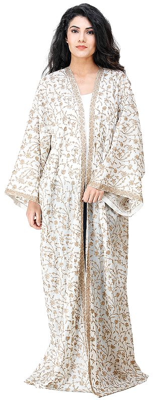 Cream Long Shrug from Kashmir with Embroidered Floral Vines All-Over
