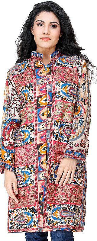 Honeysuckle Long Printed Kani Jacket from Amritsar with Ari Embroidery