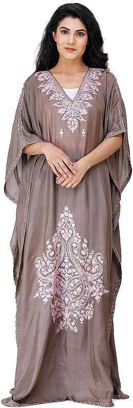 Taupe-Gray Long Kaftan from Kashmir with Embroidered Flowers and Paisleys