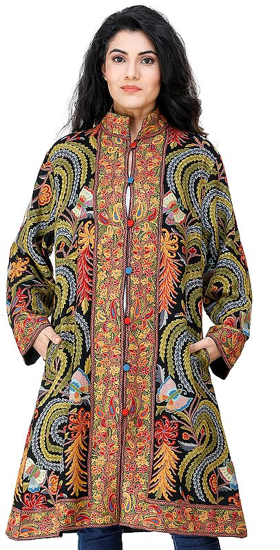 Pirate-Black Long Jacket from Kashmir with Heavy Hand-Embroidery of Flowers and Butterflies