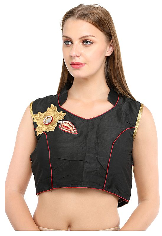 Caviar-Black Designer Choli with Zari-Embroidered Flower Patch with Studded Crystals and Mirror