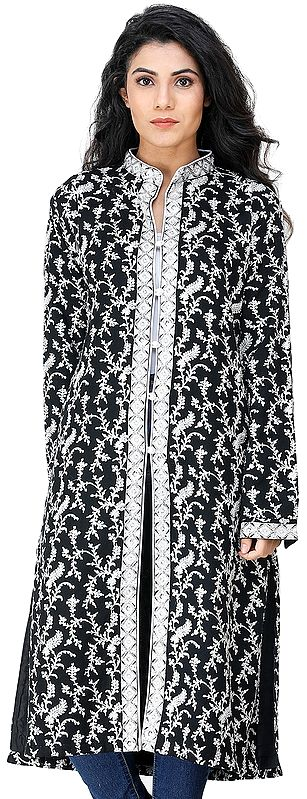 Jet-Black Long Jacket from Kashmir with Chain stitch Embroidered Flowers All-Over