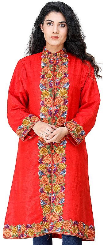 Flame-Scarlet Long Jacket from Kashmir with Chain-stitch Hand-Embroidered Multi-colored Flowers