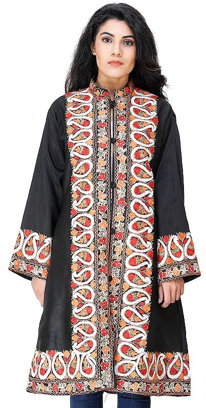 Caviar-Black Long Jacket from Kashmir with Chain Stitch Embroidered Multi-colored Paisleys