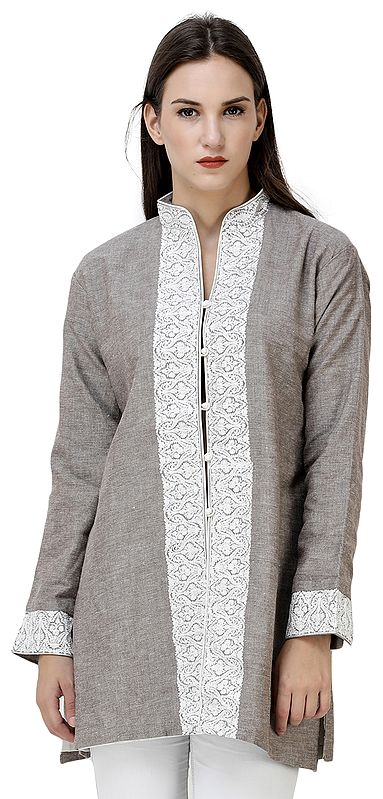 Walnut Short Jacket from Kashmir with Chain Stitch Embroidery