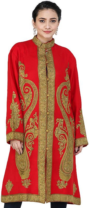 Ribbon-Red Chain-Stitch Long Jacket from Kashmir with Hand-Embroidered Giany Paisleys