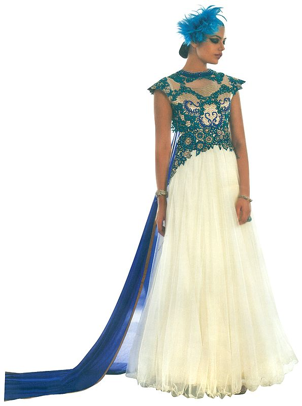 Ivory Embroidered Long Suit  with Zari Gota-Patti and Blue Dupatta