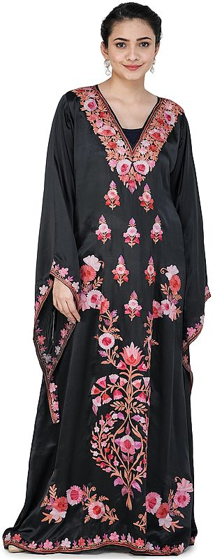 Caviar-Black Kaftan from Kashmir with Ari Embroidered Flowers