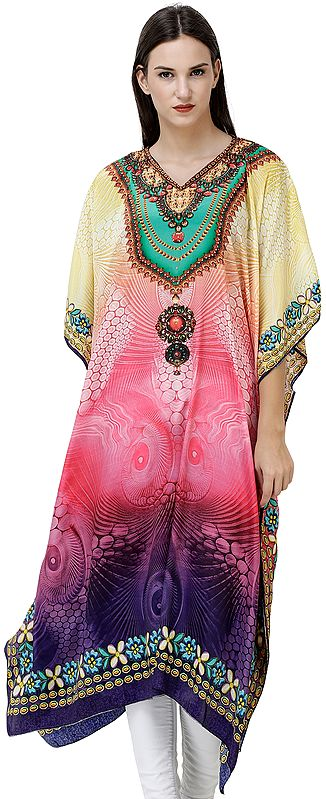 Multicolored Long Printed Kaftan Embellished with Crystals
