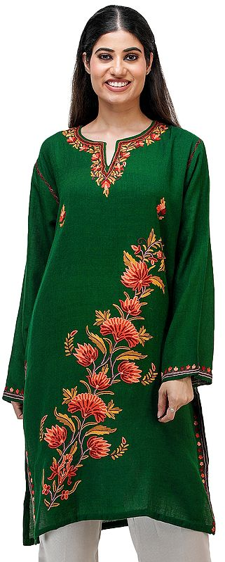 Short Phiran from Kashmir with Hand-Embroidered Flowers