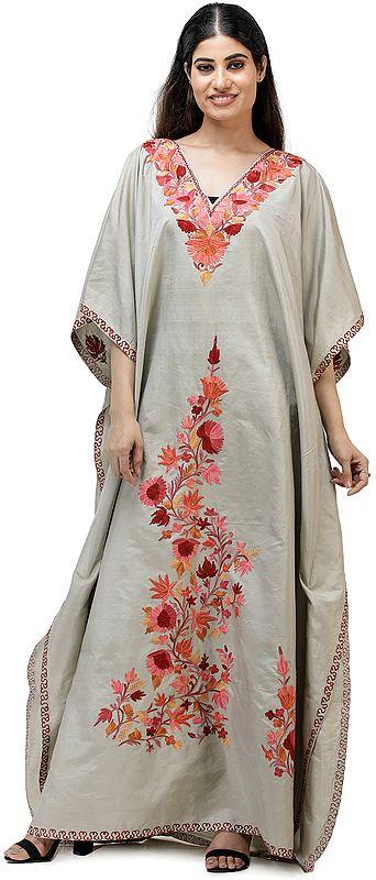 Long Kashmiri Silk Kaftan with Ari Embroidered Flowers