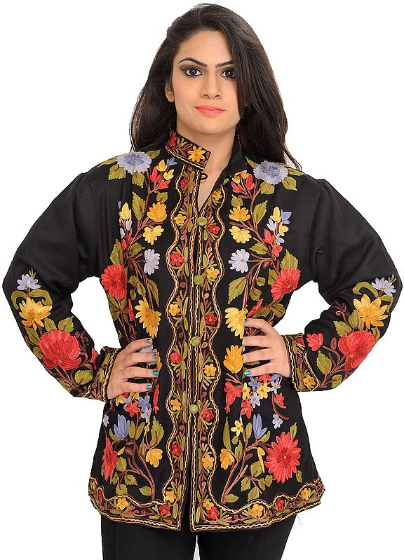 Phantom-Black Jacket from Kashmir with Chain Stitch Embroidered Multi-colored Flowers