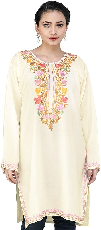 Ivory Short Phiran from Kashmir with Embroidered Flowers