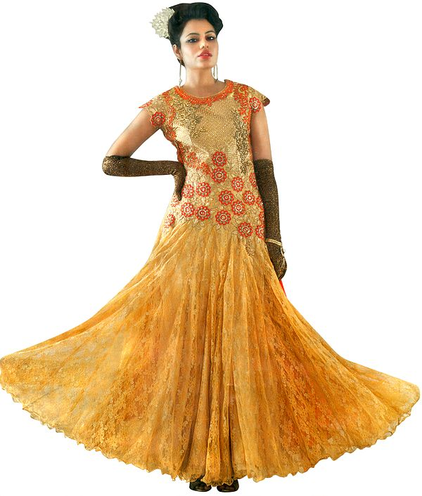 Frosted-Almond Embroidered Long Suit with Zari Gota-Patti and Orange Dupatta