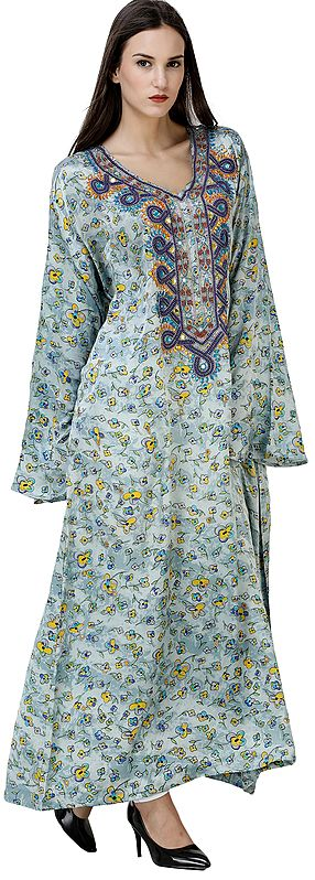 Blue-Fog Maxi Gown from Srinagar with Printed Flowers and Embellished Beads