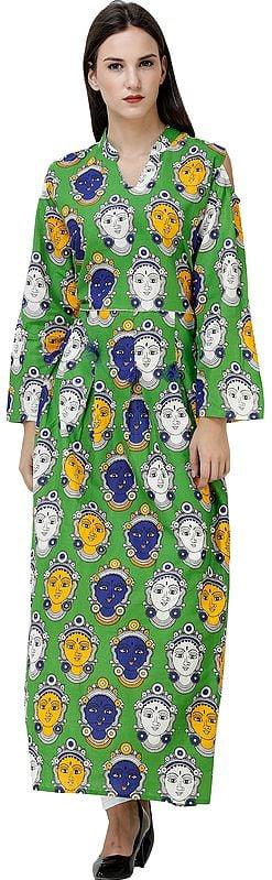 Long Gown with Kalamkari Printed Goddess and Slit Shoulders