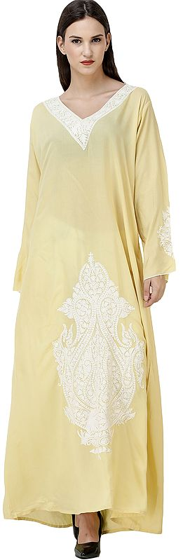 Lemon-Grass Long Gown from Kashmir with Ari-Embroidery