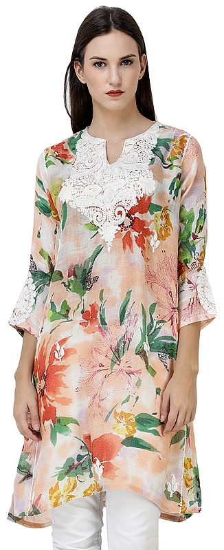 Salmon-Buff Floral Printed Kurti from Kashmir with Ari-Embroidery on Neck