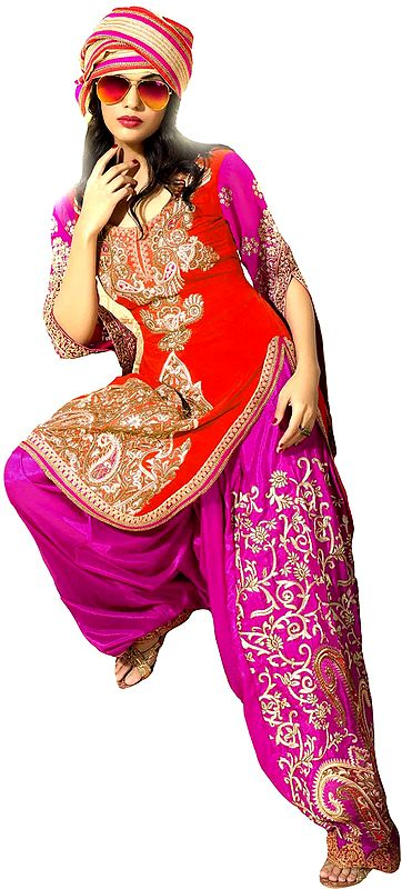 Red and Pink Wedding Salwar Kameez Suit with Zari-Embroidered Paisleys